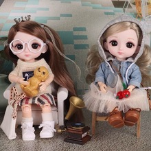 Toys Doll Dress-Up Glasses-Bags Jointed 16cm Long-Hair Girls Mini 14 with for Gift 1/8
