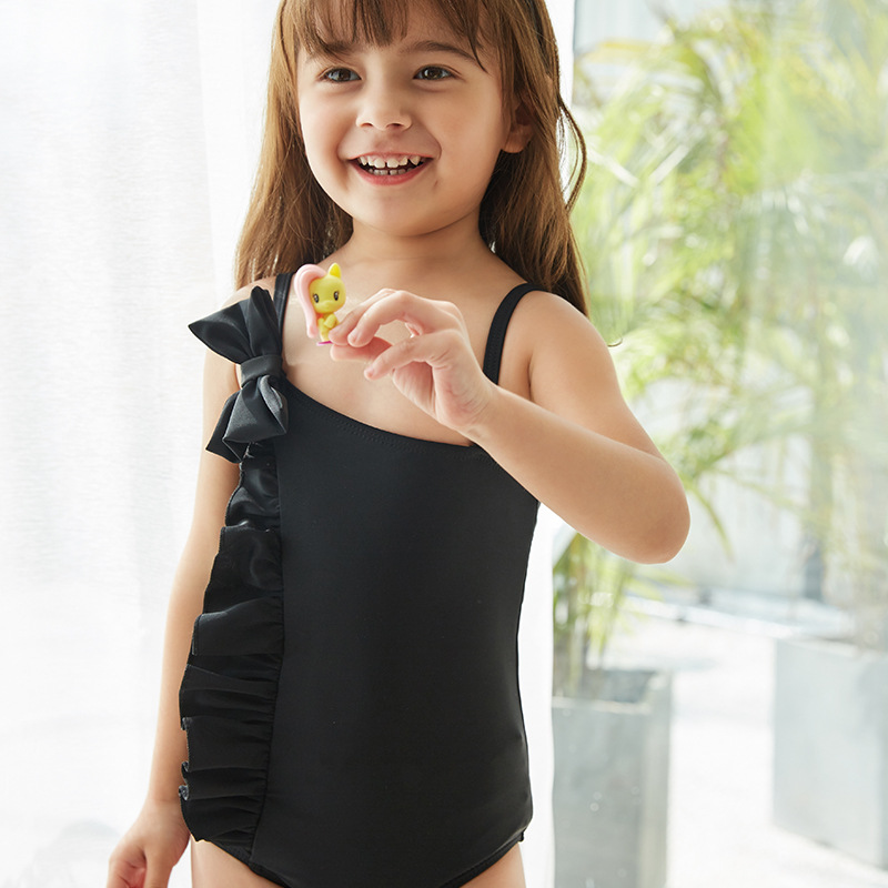 2019 New Style Hot Sales One-piece Swimming Suit Solid Color Large Bow Flounced Hipster Sweet Girls KID'S Swimwear