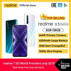 Realme X3 мобильный телефон 64MP 60X суперзум 120 Гц Дисплей Snapdragon 855 + 8GB 128GB см