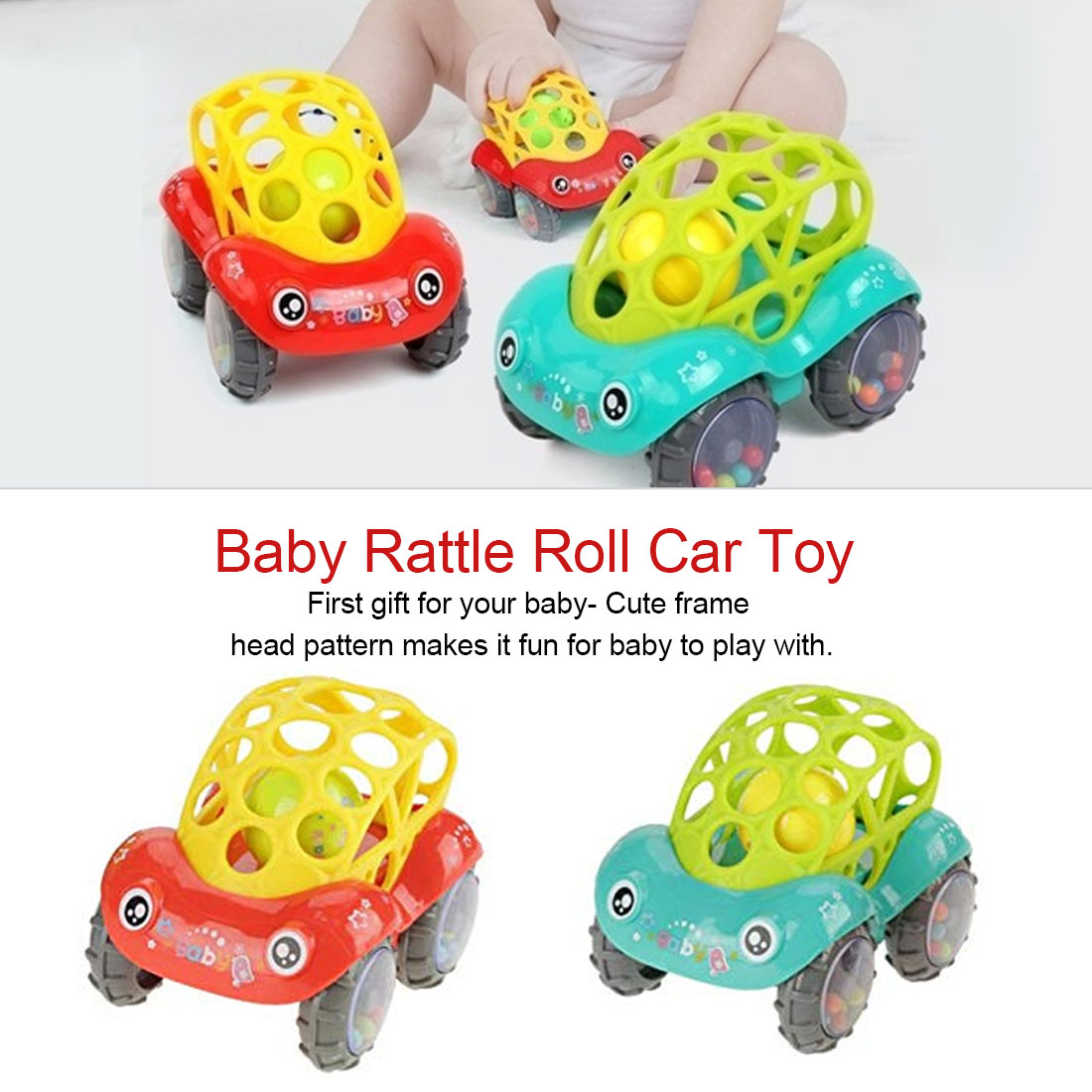 Baby Plastic Non-toxic Colorful Animals Hand Jingle Shaking Bell Car Baby Rattles Toys Music Handbell For Kids