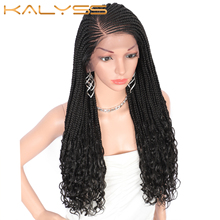 Kalyss 24 Inches 13X5 Lace Frontal Goddess Box Braids Wigs with Wavy Curly Ends