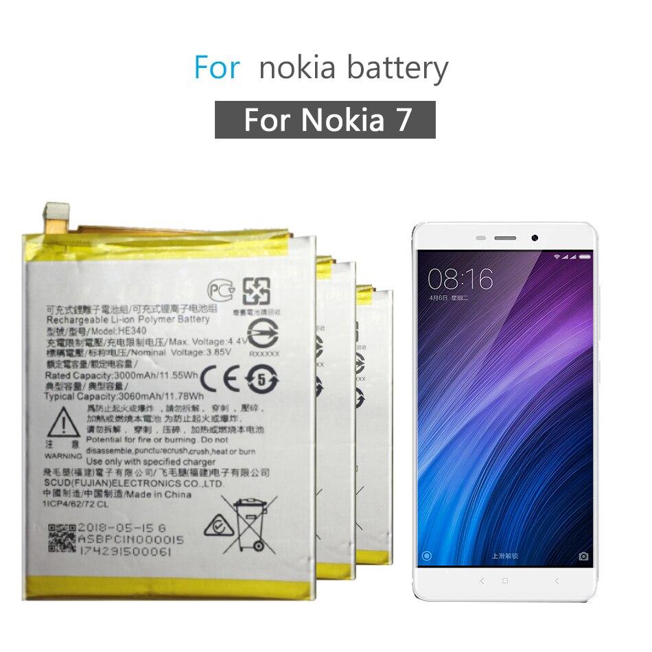 Batería de repuesto para teléfono móvil Nokia 7 Nokia7 HE340 3060mAh