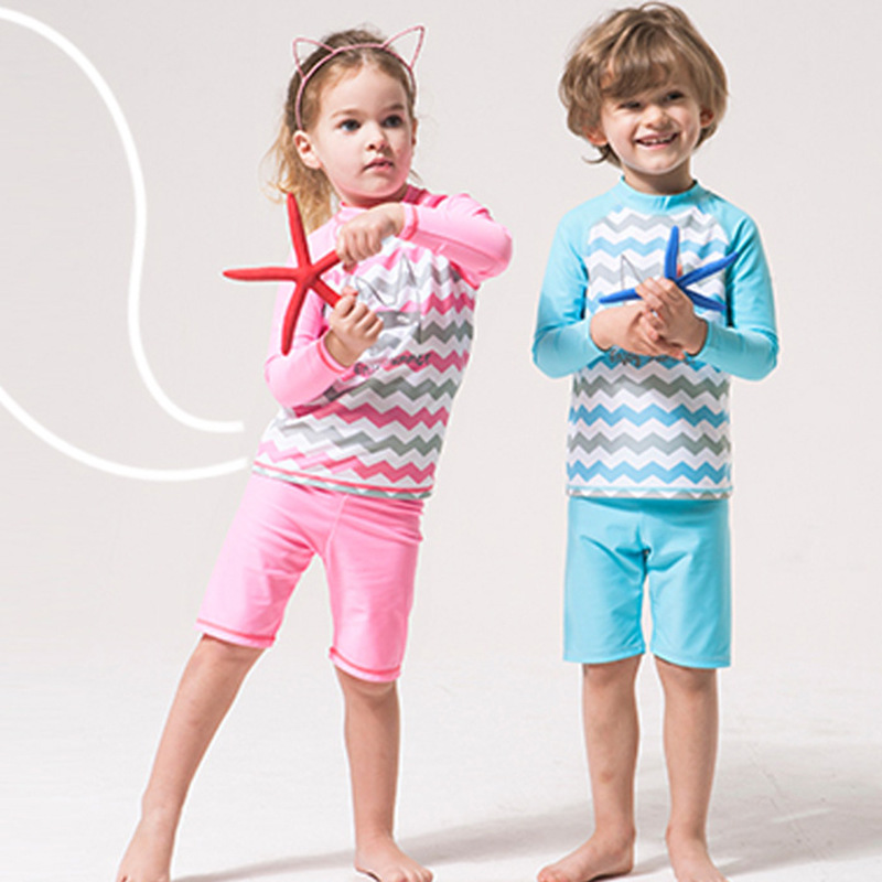 KID'S Swimwear Foreign Trade Export South Korea Middle And Large BOY'S Girls Split Type Boxer Long Sleeve Sun Blocking Students