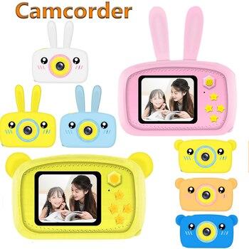 HD 1080P Mini cámara Digital para niños 2 pulgadas pantalla portátil Video Digital cámara de dibujos animados linda con cubierta de silicona de conejo