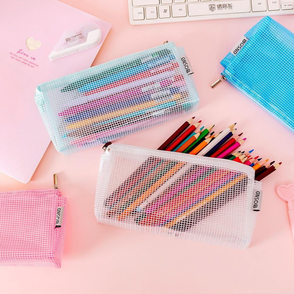 Pencil Case Pen Bag Box Estuche Escolar School Supplies Transparent Pencilcase Mesh Pencil Case Cartuchera Para Lapices Astuccio