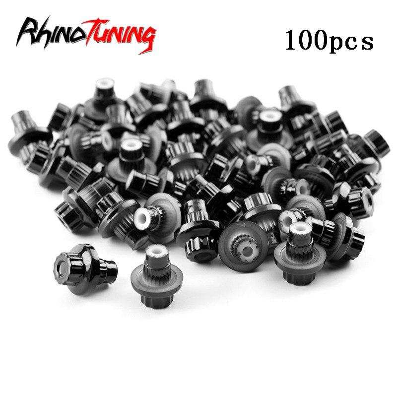 100pcs Universal Wheel Rivets Nuts For BBS Rim Lip Jant Decoration Reps Black Chrome Silver