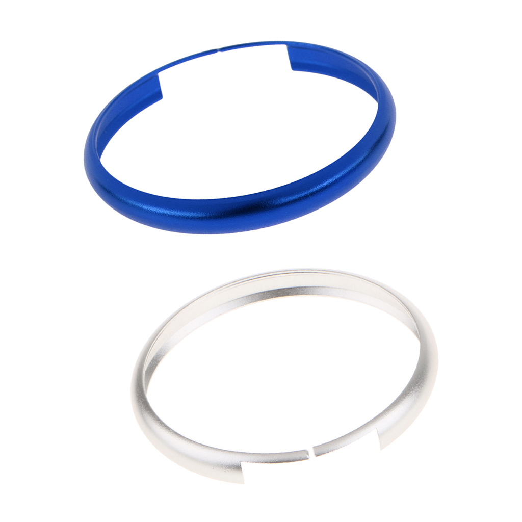 2Pcs 45mm Aluminum Remote Control Key Protctive Ring Trim Chain for 2008 and up MINI Cooper - Sliver & Blue