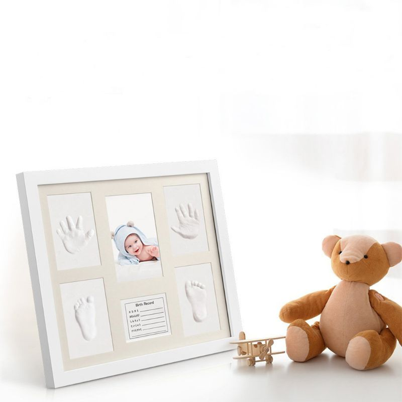 Baby Shower Keepsake Kit For Parents, Baby Handprint And Footprint Frame Kit For Room Wall Or Table Decor E65D
