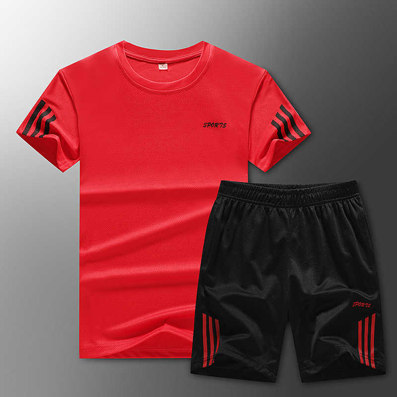 2020 Men's Casual Sports Suit Fashion 2 Piece Sweatshirt Striped Short Sleeve T-Shirt Shorts Set Men's Sportswear Tracksuit