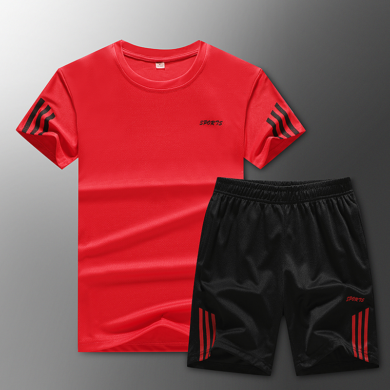 2020 Men's Casual Sports Suit Fashion 2 Piece Sweatshirt Striped Short Sleeve T-Shirt Shorts Set Men's Sportswear Tracksuit