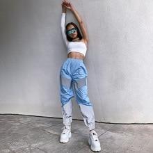Summer fashion sexy high waist reflective sports pants women