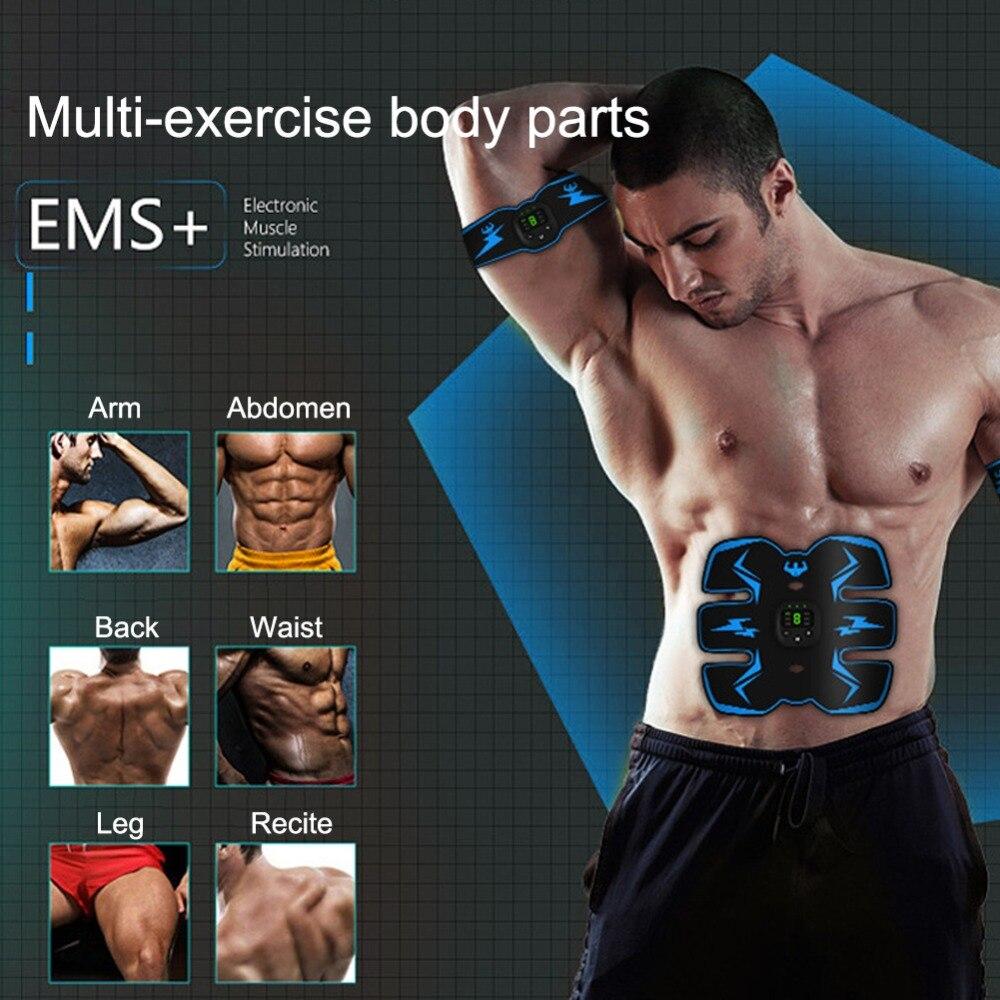 ЖК-дисплей USB Перезаряжаемый Электрический тренажер оборудования для фитнеса массаж тела Fit EMS тренажер синий