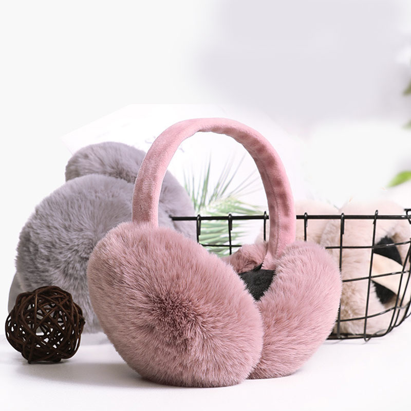 Cute Faux Fur Headphones Are Warm Winter Fur Headphones Solid Color Winter Headphones Foldable Fluffy Earmuffs Drop Shipping New