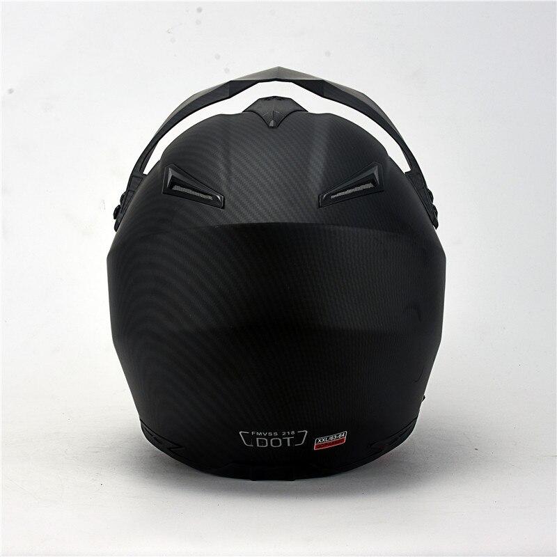 Mate noir double Sport hors route moto rcycle casque saleté vélo ATV D.O.T certifié (M, bleu) complet casco pour moto sport - 4