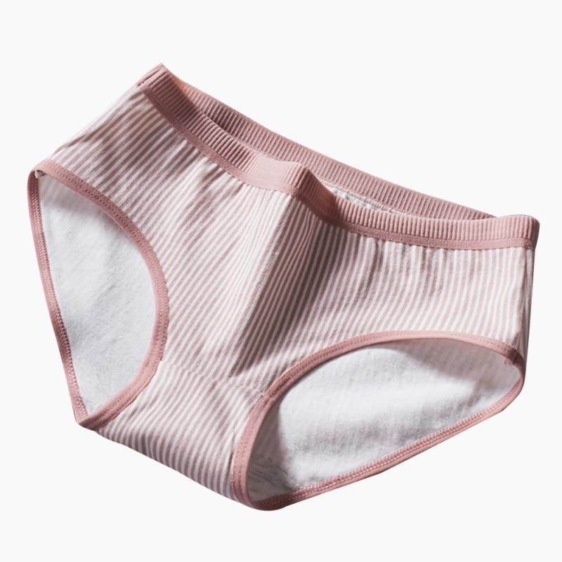 2020 New Panties Striped Lingerie Bragas Lenceria Girl Cute Japanese Mid-rise Waist Briefs Large Size Cotton Briefs