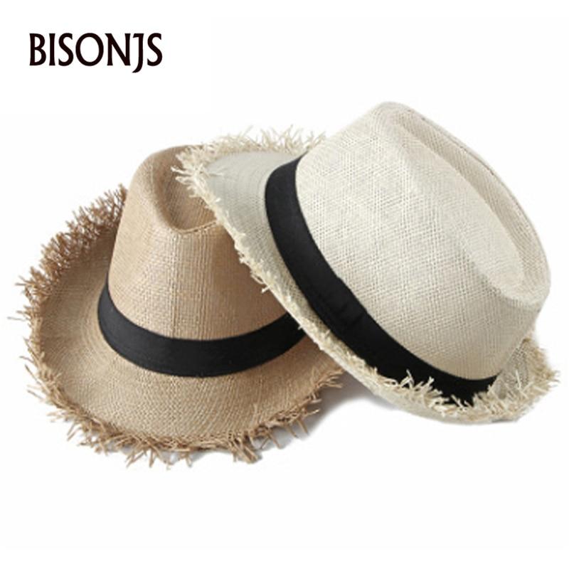 BISONJS 2020 Новая модная соломенная шляпа с большими полями, женская уличная пляжная шляпа для путешествий, летняя дышащая шляпа с бантиком для ...