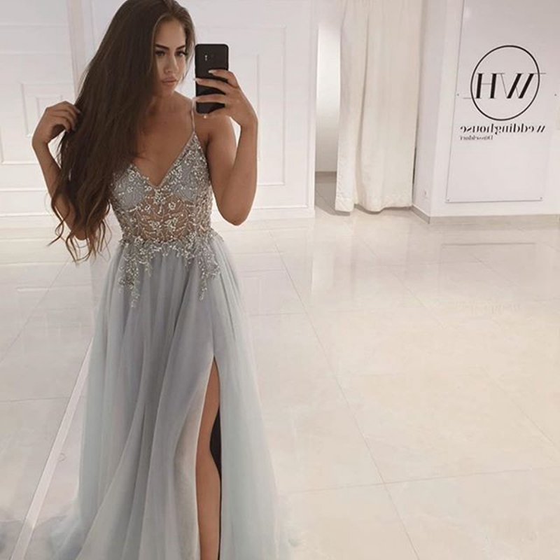 Evening Dresses Long A Line Sexy Split Deep V Neck Sleeveless Floor Length For Women Handmake Beading Formal Prom Party Gowns