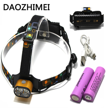 8000 LM USBRechargeable XM-L T6 Headlamp 2*T6 3 Modes Self Defense Camp Head Headlight 18650 Battery Front Light