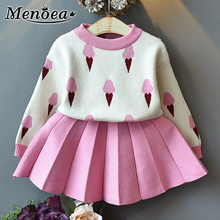 Menoea/Одежда для маленьких девочек; Осенние костюмы для маленьких девочек из 2 предметов; комплекты одежды для детей; вязаный пуловер с рисунком мороженого; свитер; плиссированные платья