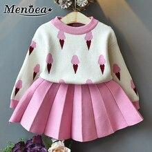 Menoea baby girl ubrania jesień 2 sztuk dziewczynek garnitury dzieci odzież ustawia lody dziergany sweter sweter plisowane sukienki