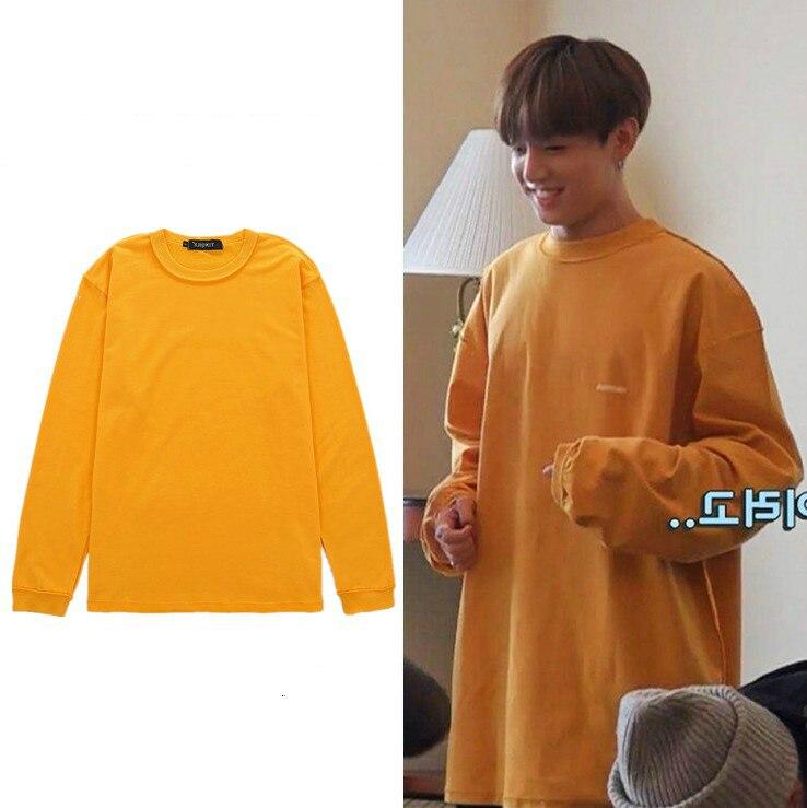 Kpop Bangtan garçons JUNGKOOK 2019 nouveau coréen hiver chaud jaune vestes à capuche femmes/hommes col rond sweats streetwear vêtements décontractés