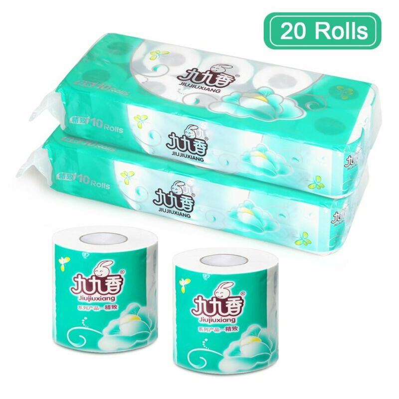 10/20 Rolls Toilet Paper Bulk Rolls Bath Tissue Bathroom White Soft 4 Ply Household