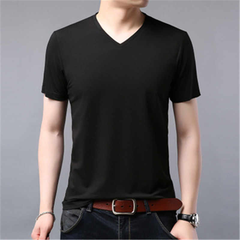 2019 spring and summer men's solid color short-sleeved T-shirt middle-aged cotton round neck men's T-shirt   aay28