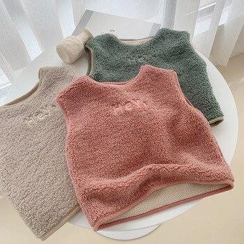 WLG Autumn winter BOYS girls vest kids velvet o-neck sleeveless letter pattern vest baby boy girl casual clothes 1