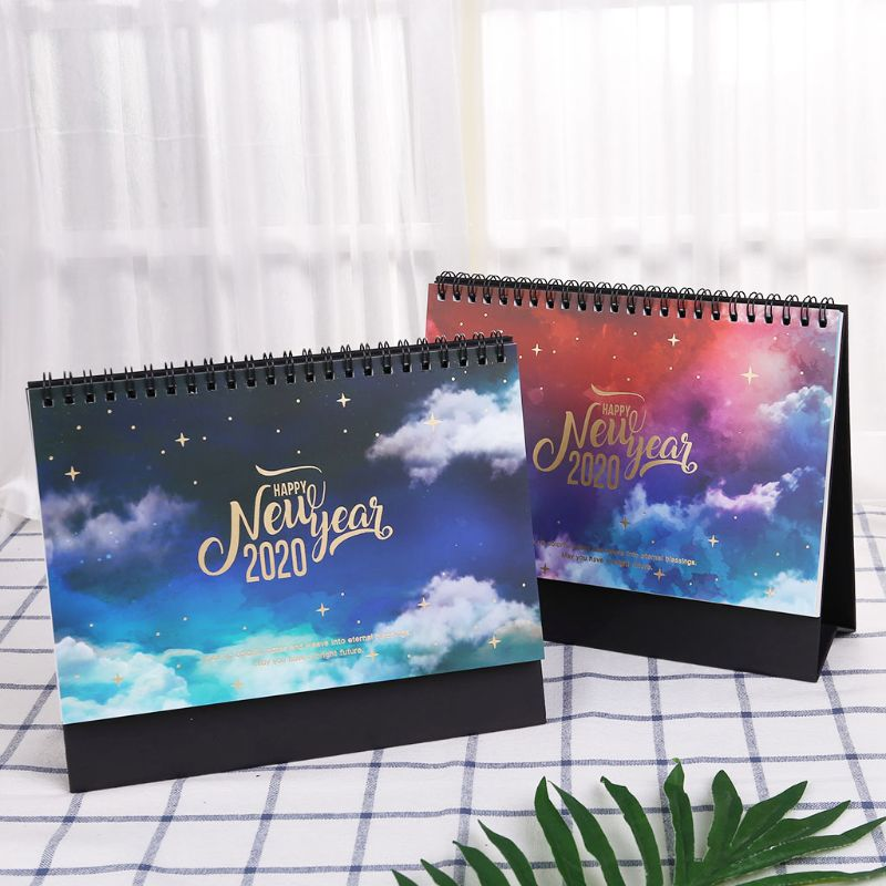 2020 Dreamy Colorful Desktop Standing Coil Paper Calendar Memo Daily Schedule Table Planner Yearly Agenda Organizer