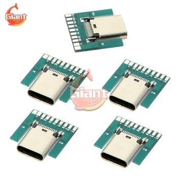 5 sztuk/partia USB 3.1 typ C złącze 24 Pins kobieta gniazdo gniazdo Adapter konwerter do lutowania drutu kabel 24 P PCB pokładzie moduł