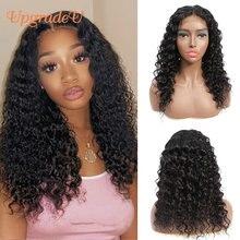 UpgradeU глубокая волна Синтетические волосы на кружеве парики человеческих волос парики предварительно вырезанные 150% плотность 4x4 бразильски...