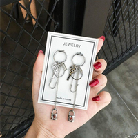 Key Lock Asymmetric Long Chain Geometry Pendant Metal Tassel Drop Earring Fashion Jewelry Exquisite Earrings
