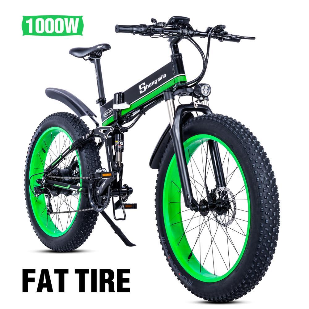 Spor ve Eğlence'ten Elektrikli Bisiklet'de Elektrikli bisiklet 1000W elektrikli plaj bisiklet 4.0 yağ lastik elektrikli bisiklet 48V erkek dağ bisikleti kar ebike 26 inç bisiklet title=