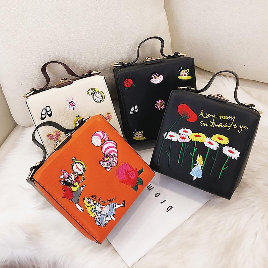 Alice Box Style Embroidered Cartoon Pattern Pu Handbag Women Shoulder Bag Casual Totes Women Crossbody Messenger Bag Flap Bolsa
