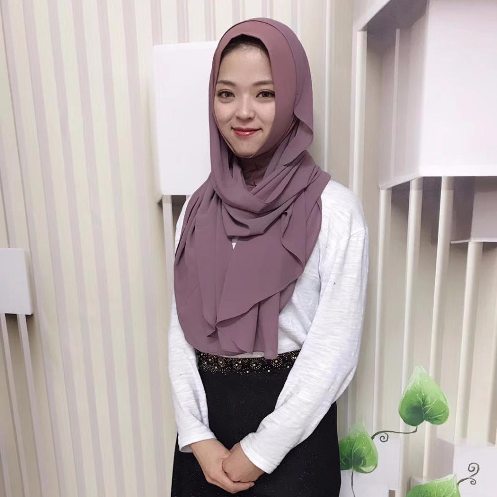 2019 Muslim Headscarf Solid Color Chiffon Malaysia Two-piece Turban Hijab Foulard Femme Musulman Islamic Instand Shawls Wrap
