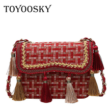 TOYOOSKY Retro Colored Tassel Handbag Women Brand Design Exquisite Chain Shoulder Bags Ladies Wool Messenger Bag Bolsa Feminina