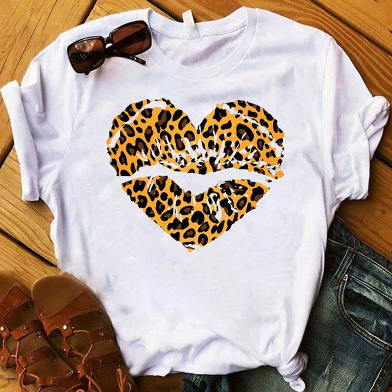 Lip Love Leopard Fashion Summer Women Graphic Printed Top Short Sleeve Tshirt Female Womens T-shirt Feamle Clothing 2020
