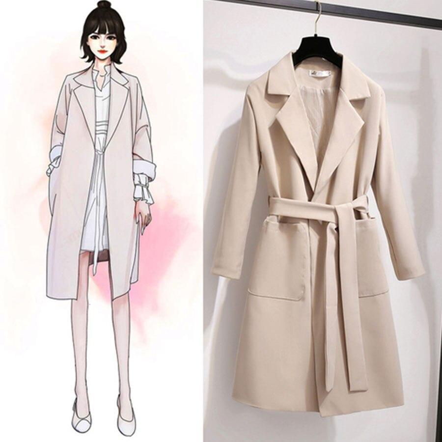 Thin Autumn Winter   Trench   Coats Women Korean Style Pocket Turn-Down Collar Lace-Up Coats Ladies Elegant Windbreaker Outerwears