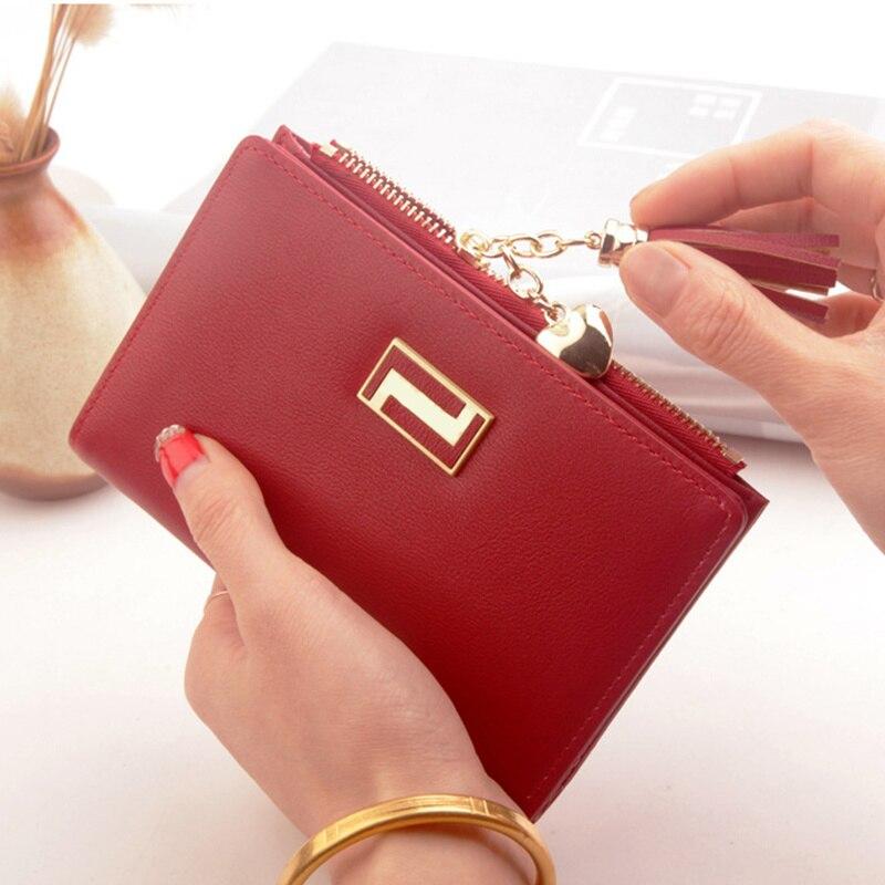 Short Women Wallets Zipper Tassel Wallet Soft Leather Ladies Card Holder Slim Purse Carteira Female Wallet Small Cartera Mujer