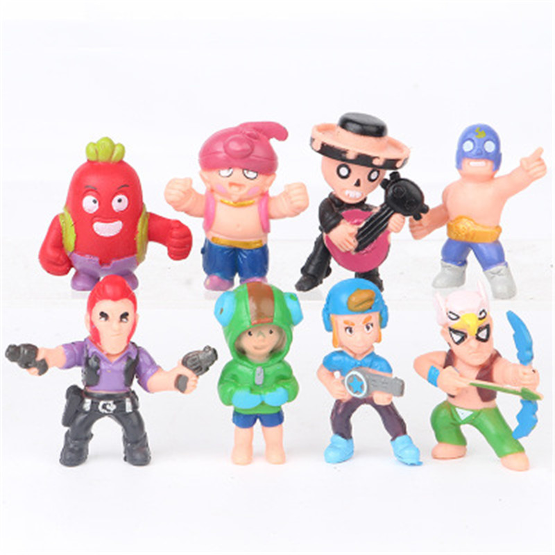 8 Piece Set 7cm Brawl Stars Movie Robot Colt Model Anime Character Brock Movable Character Decoration  Doll Children Gift