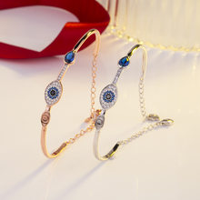 High Quality S925 Silver Evil Eye Charm Rose Gold Bracelets Bangles Crystal SWAROVSKI For Women Weddings Jewelry holiday Gift(China)