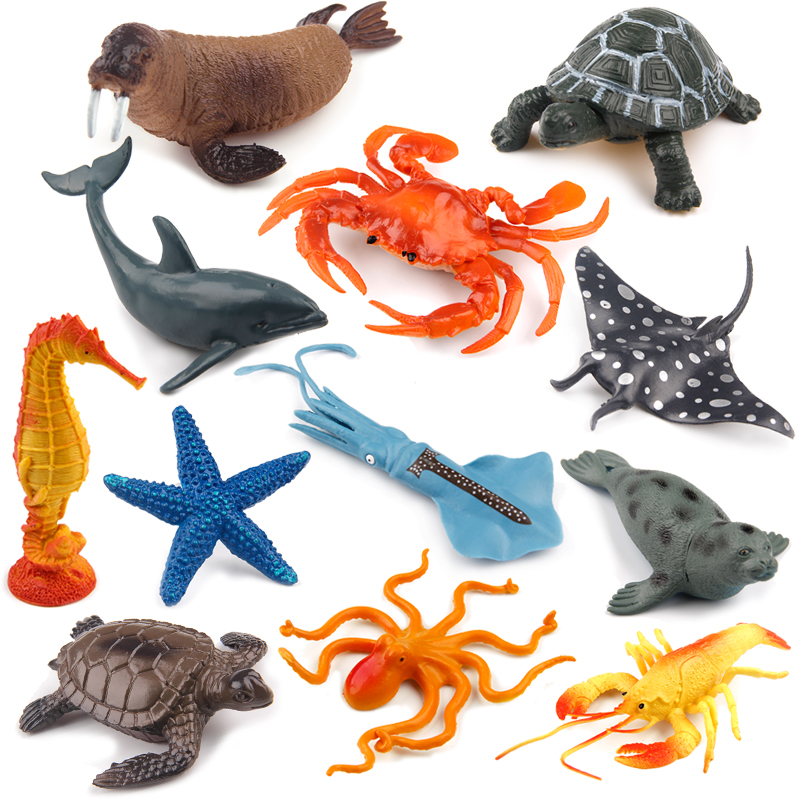 Simulation Seabed Marine Life Animal Model Toy Great White Shark Crab Sea Turtle Dolphin Lobster Seal Shark