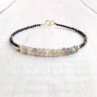 Lily Jewelry Labradorite Black Spinels Bracelet 925 Sterling Silver Gold Color Sparkling Delicate Jewelry Drop Shipping