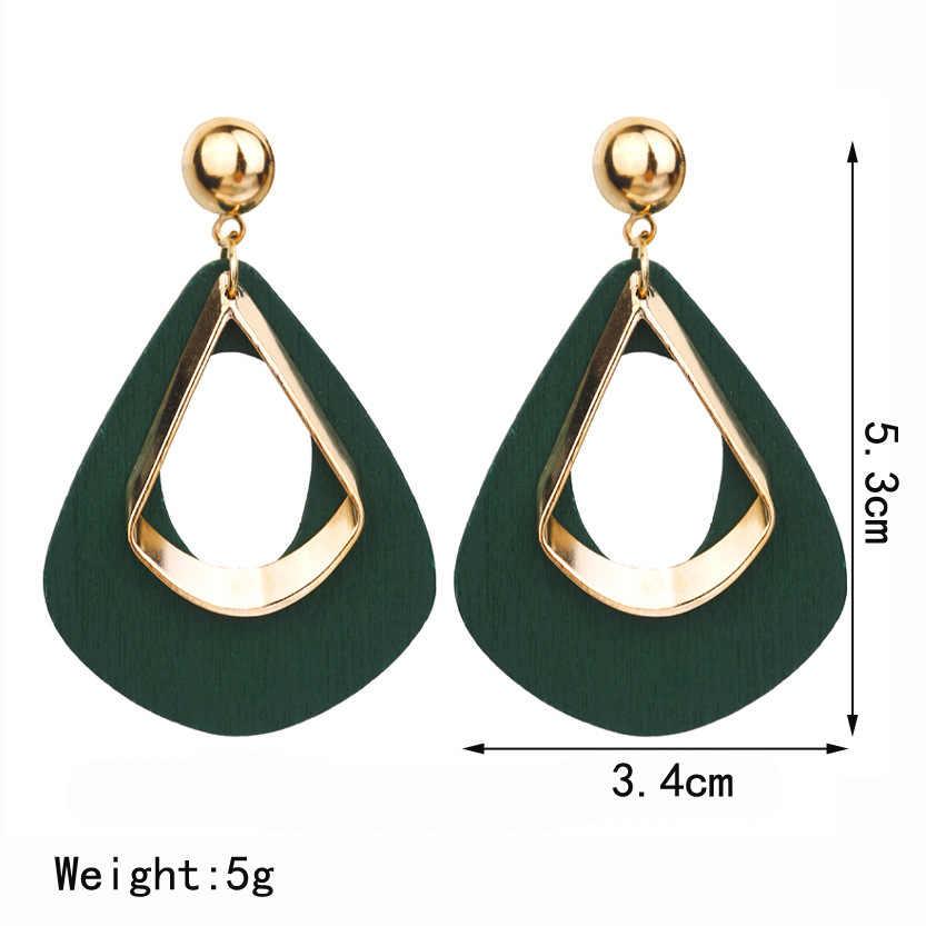 בציר אקריליק הצהרת Drop עגילים לנשים 2019 תכשיטים קוריאני מתכת גיאומטרי זהב תלוי להשתלשל עגיל