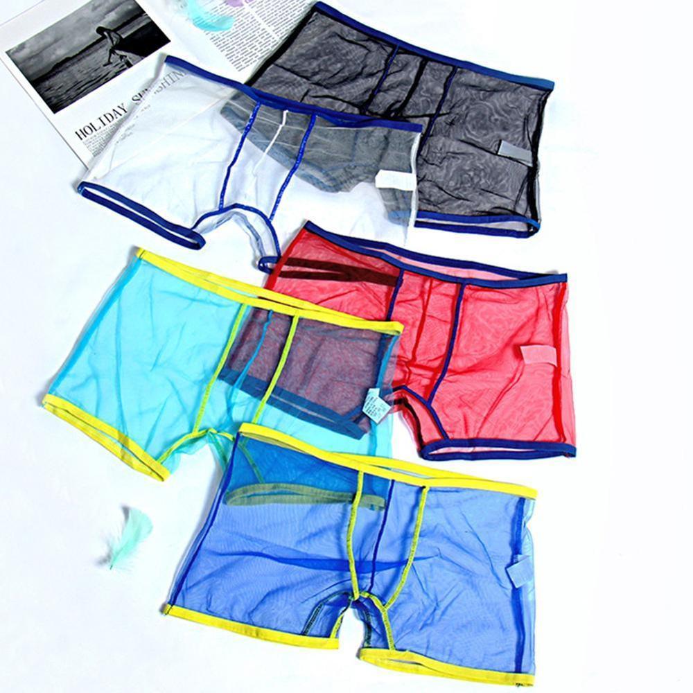 1 Pc Summer Boxer Men Underwear Transparent Boxers Breathable Mesh Men's Underpants Cueca Male Panties Ropa Interior Man