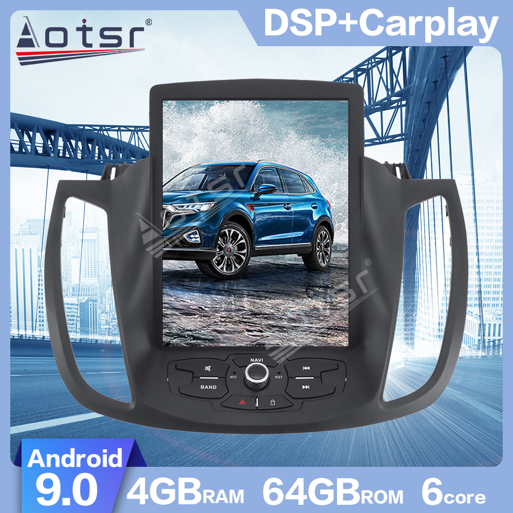 AOTSR Android 9.0 Tesla style 4G+64GB Car GPS Navigation For Ford KUGA 2013-2018 Head Unit Tape Recorder Multimedia Player Radio image