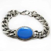 Wholesale 316L stainless steel salman khan bracelet with blue gems,,nature stone chain link bracelets