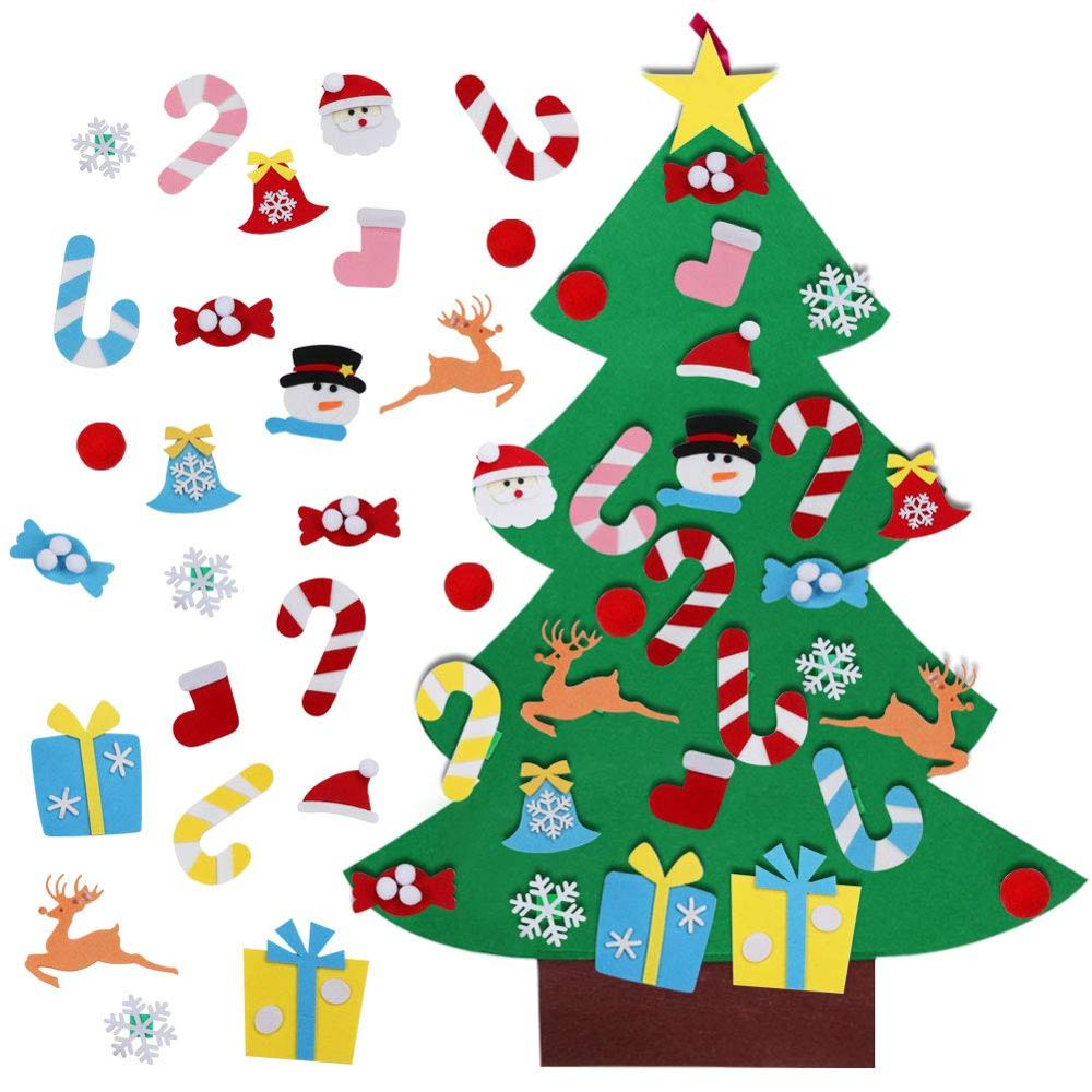 xmas decoration new year/'s eve gift Small wooden house lucky charm with wooden base fence and xmas tree