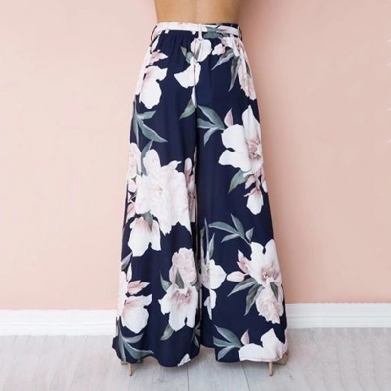 Women Loose High Waist Wide Leg Floral Palazzo Pants