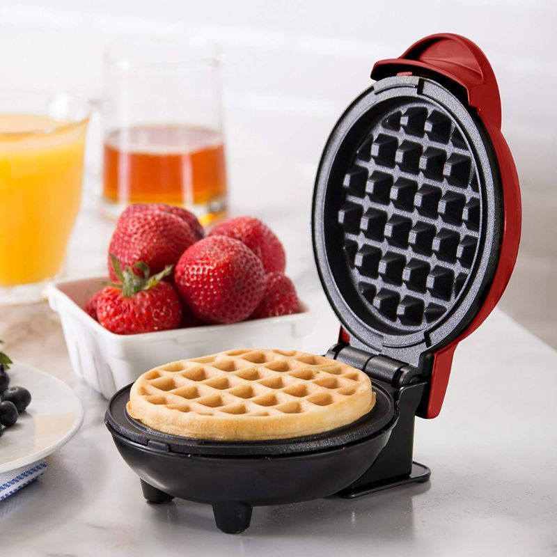 MEXI Mini Waffle Maker Classic Nonstick Breakfast Panini Making Machine Individual Round Portable Kitchen Cooking Appliances